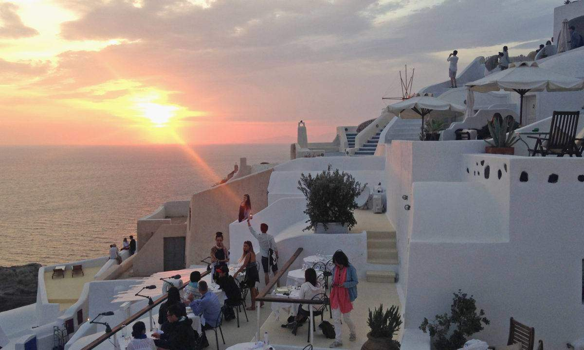 The sunset in Oia, made possible by a pricey restaurant.