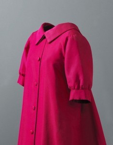 a 1955 Balenciaga garment with a structured collar, worn by Mona Bismark. Photo credit the Balenciaga Museum.