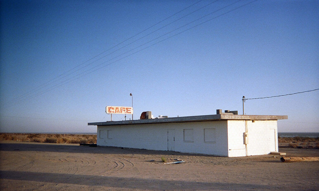 An abandoned cafe on the Salton Sea in California.
