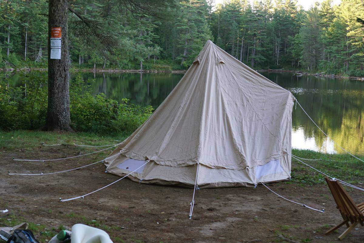 bell-tent-before-guy-ropes-pulled-tight
