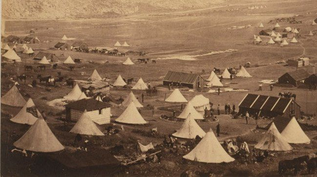 A photo by Roger Fenton of bell tents used by British troops in the Crimean War in 1855, courtesy of the Library of Congress.