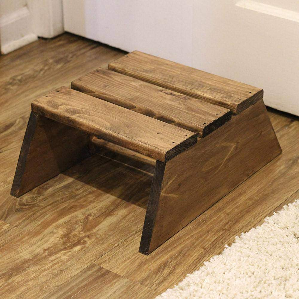slatted wood stool