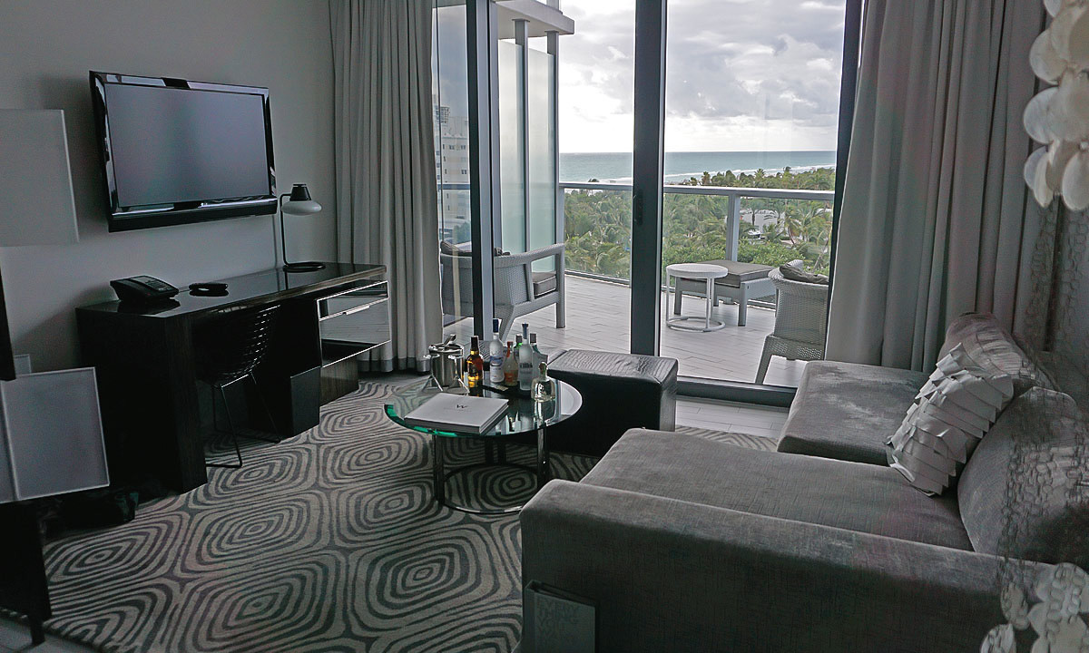 The living area and balcony of our room at the W South Beach