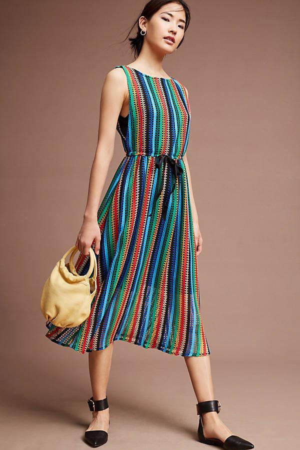 Anthropologie Rainbow Crochet Dress