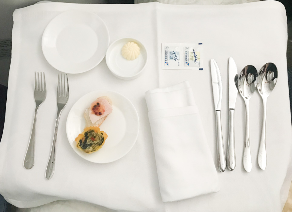 China Southern Business Class Dinner Setting