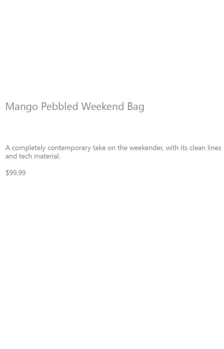 Mango Pebbled Weekend Bag Description